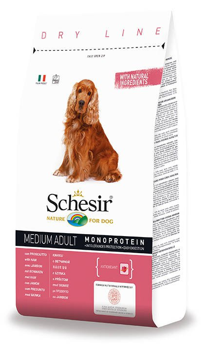 Schesir Dog Dry Medium Main Ham - 3 kg.