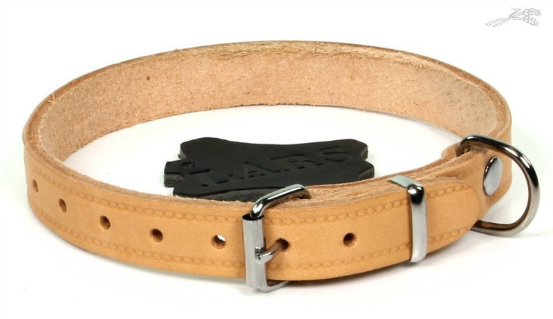 Lars Halsband Softleder Naturel - 18mm x 45cm.