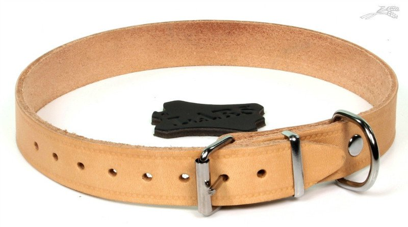 Lars Halsband Softleder Naturel - 25mm x 65cm