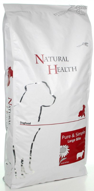 Natural Health Dog Lam & Rice Large Bite - 12,5 kg.
