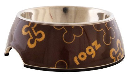 Rogz Lapz Bowlz Trendy Medium Brown Bones