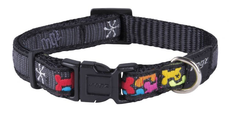 Rogz Jelly Halsband Multi Bone Black - 11mm