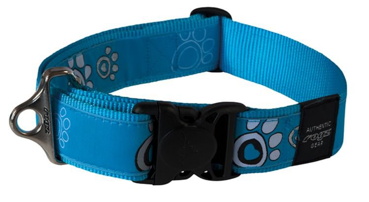 Rogz Speciaal Agent Halsband Turquoise Paw - 40mm