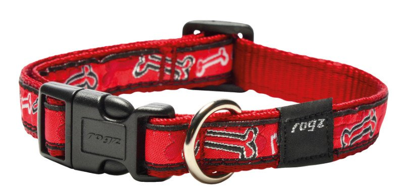 Rogz Scooter Halsband Red Rogz Bone M - 16mm
