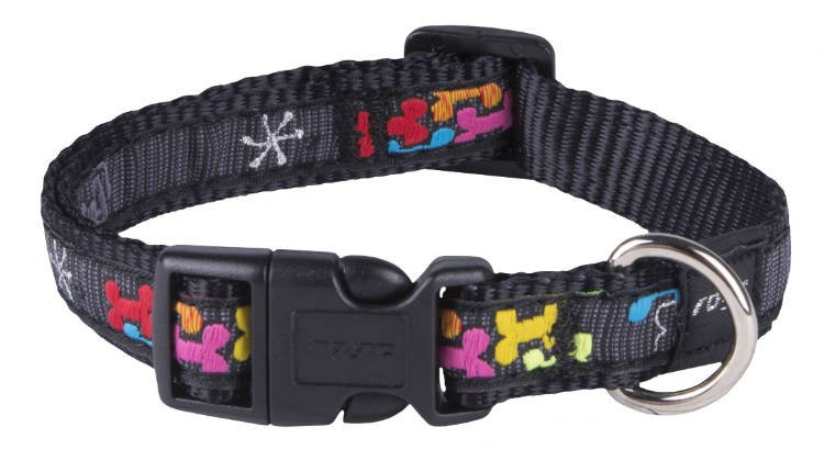 Rogz Scooter Halsband Multi Bone Black M - 16mm