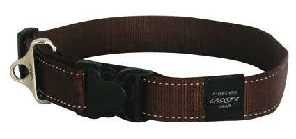 Rogz Landing strip halsband Chocolate XXL - 40mm