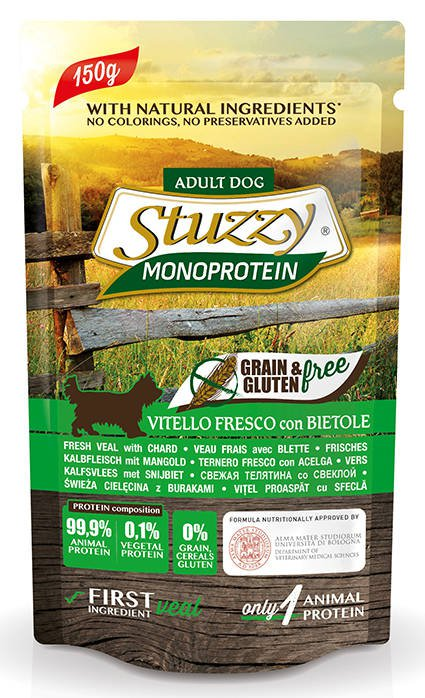 Stuzzy Dog Grain Free Monoprotein Veal & Chard - 12x150 gr.