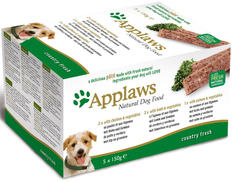 Applaws Dog Paté MP Country Selection -Chick, Lamb, Salm - 5x150 gr.
