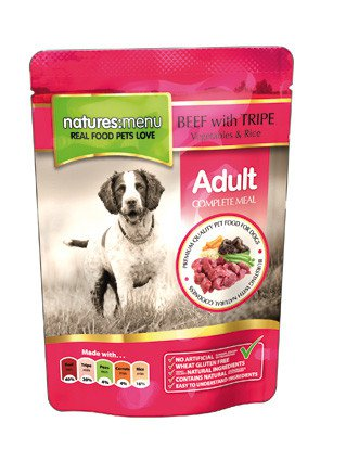 Natures Menu Dog Pouch Beef & Tripe - 300 gr. (8 verp.)