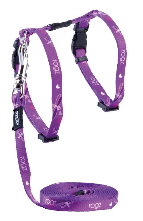 Rogz Kiddycat Tuig+Lijn Purple Dragonfly - 8 mm|19,8-30cm|1.8m