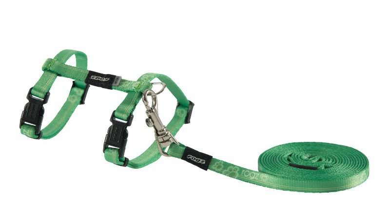 Rogz KiddyCat Tuig+Lijn Lime Paws - 8 mm|19,8-30cm|1.8m