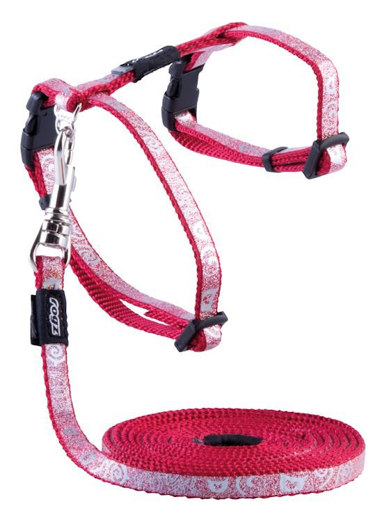 Rogz Sparklecat Tuig+Lijn Dark Red - 8 mm |1,8m|19,8-30 cm
