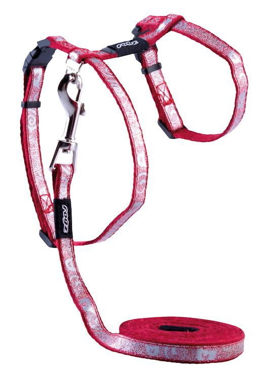 Rogz Sparklecat Tuig+Lijn Dark Red - 11 mm |1,8m|24-40 cm