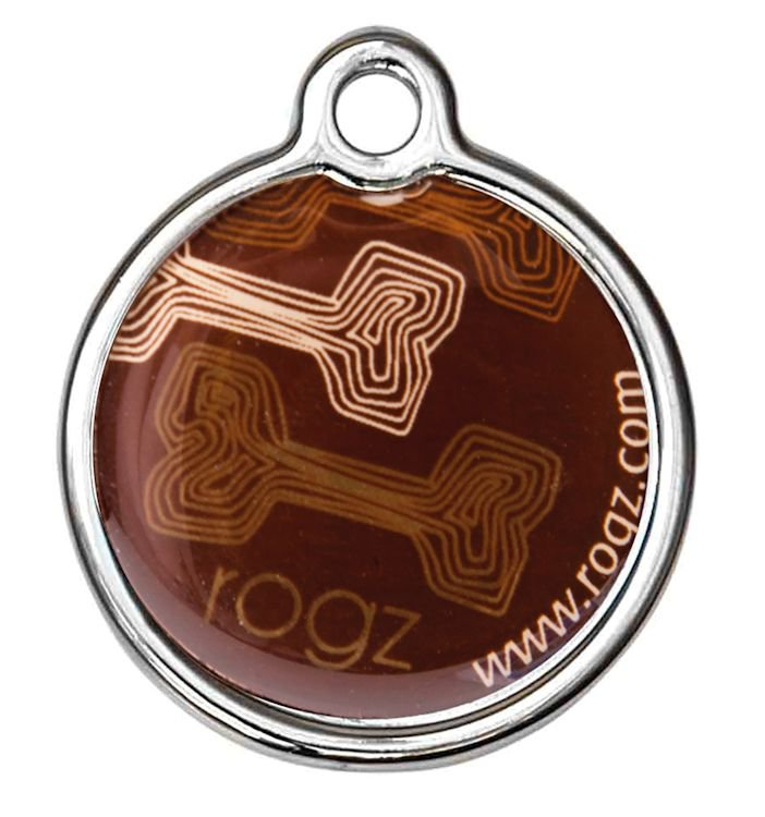 RogZ ID Tag Small Metal Mocha Bone