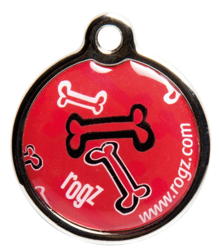 RogZ ID Tag Large Metal Red Rogz Bone