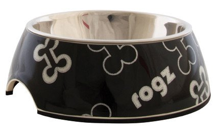 Rogz Lapz Bowlz Trendy Medium Black Bones