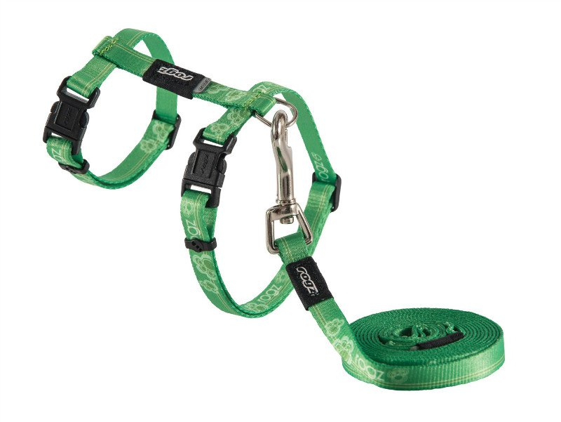 Rogz KiddyCat Tuig+Lijn Lime Paws - 11mm|24-30 cm|1,8m