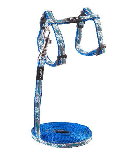 Rogz NightCat Tuig+Lijn Blue Floral - 11mm|24-30 cm|1,8m