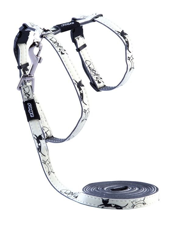 Rogz GlowCat Tuig+Lijn Black Jumping Cat - 11mm - 1,8m/24-40 cm.