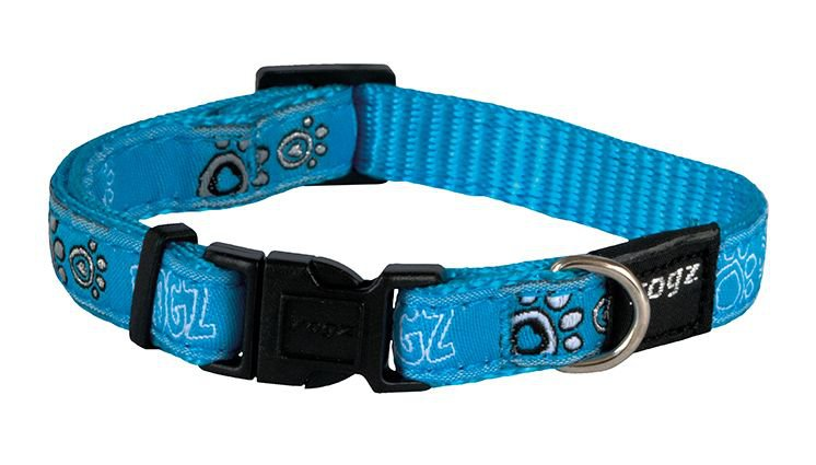 Rogz Jelly Halsband Paw Turquoise S - 11mm