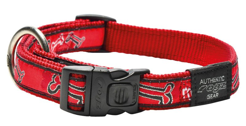 Rogz Beach Bum Halsband Red Rogz Bone L  - 20mm