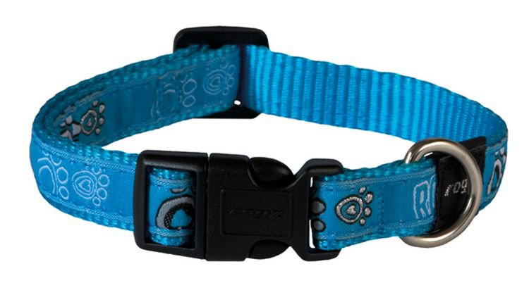 Rogz Scooter Halsband Turquoise Paw - 16mm