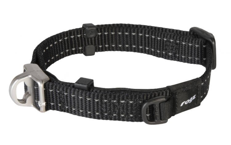 Rogz Snake Safety Halsband Black M - 16mm