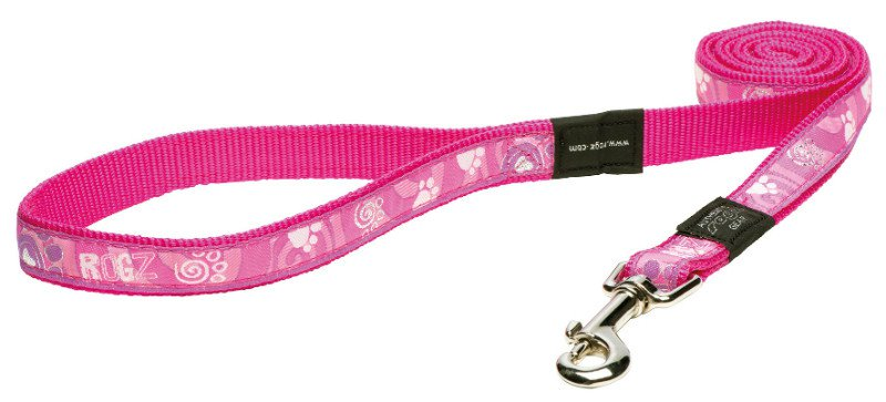 Rogz Beach Bum Lijn Pink Paw L  - 20mm