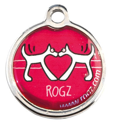 RogZ ID Tag Small Metal Red Heart - Small